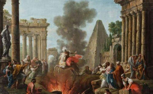 Quadro Joli Antonio. The Death Leap Of Marcus Curtius Il Mito Di Curzio Oil On Canvas Size 42.91 X 531 500x309, Reggia di Caserta UnOfficial