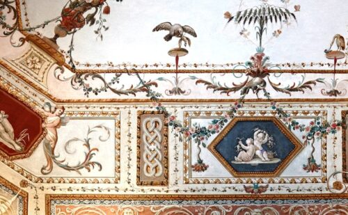 Reggia Caserta Soffitto Anticamera Ferdinando Ii 2 500x309, Unofficial website of the Royal Palace in Caserta