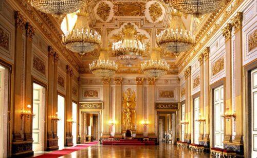 Sala Trono Reggia Di Caserta Lampadari Fotomontaggio1 1 500x309, Unofficial Website of the Royal Palace of Caserta