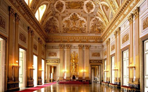 Sala Trono Reggia Di Caserta Senza Lampadari Fotomontaggio 500x309, Sito non ufficiale della Reggia di Caserta