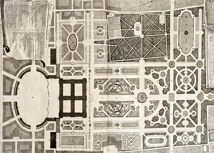 L. Vanvitelli. Plan of the park by the Declaration of drawings. Naples 1756.